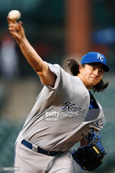 Starting pitcher Luis Mendoza of the Kansas City Royals throws to a Baltimore Orioles batter during the first inning at Oriole Park at Camden Yards...