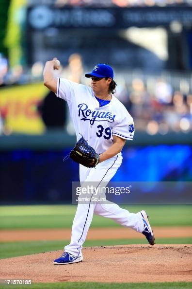 Starting pitcher Luis Mendoza of the Kansas City Royals warms up prior to the start of the game against the Atlanta Braves at Kauffman Stadium on...