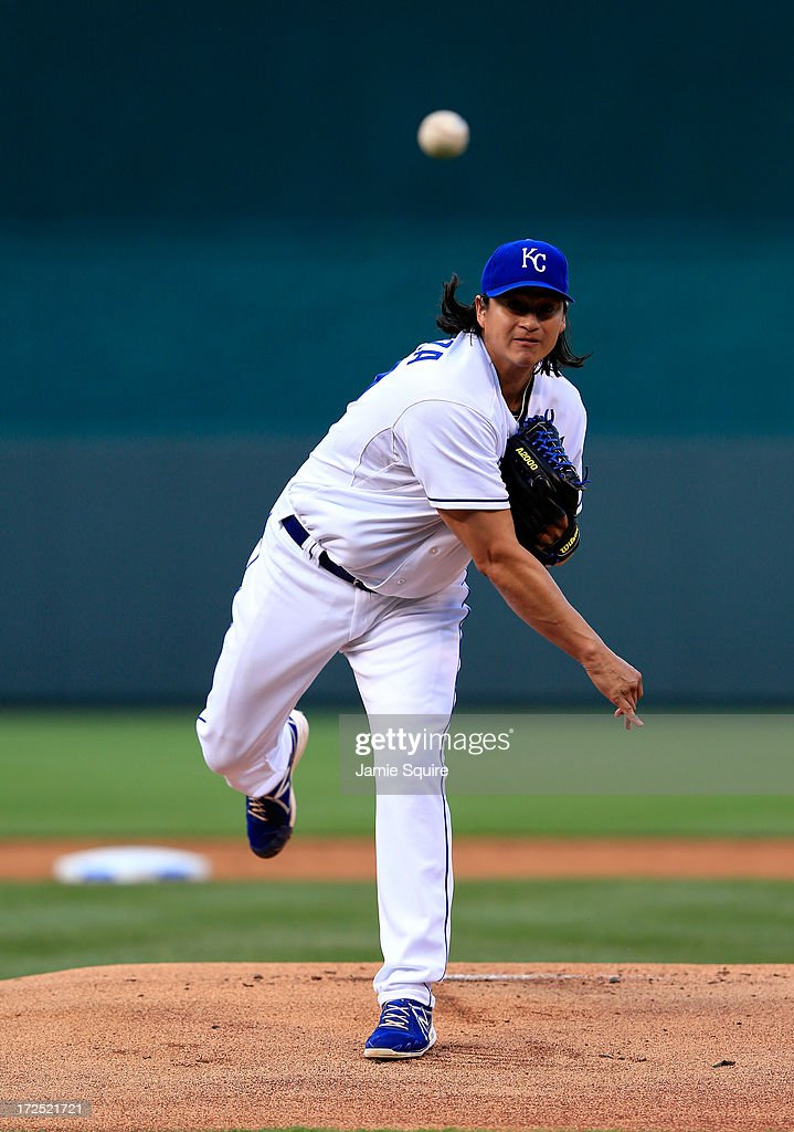 Starting pitcher Luis Mendoza of the Kansas City Royals warms up prior to the start of the game against the Cleveland Indians at Kauffman Stadium on...