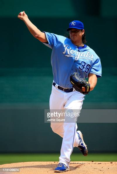 Starting pitcher Luis Mendoza of the Kansas City Royals warms up prior to the game against the Oakland Athletics at Kauffman Stadium on July 7 2013...