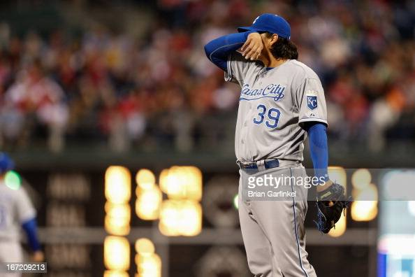 Starting pitcher Luis Mendoza of the Kansas City Royals wipes his brow during the interleague game against the Philadelphia Phillies at Citizens Bank...