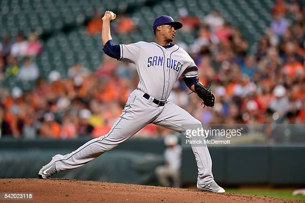Starting pitcher Luis Perdomo of the San Diego Padres throws a pitch to a Baltimore Orioles batter in the first inning during a MLB baseball game at...