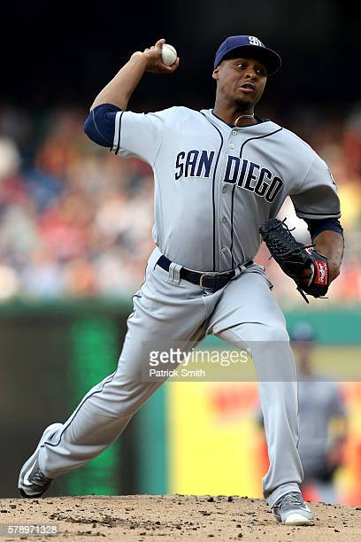 Starting pitcher Luis Perdomo of the San Diego Padres works the first inning against the Washington Nationals at Nationals Park on July 22 2016 in...