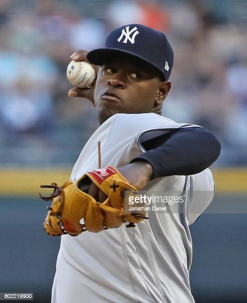 Starting pitcher Luis Severino of the New York Yankees delivers the ball against the Chicago White Sox at Guaranteed Rate Field on June 27 2017 in...