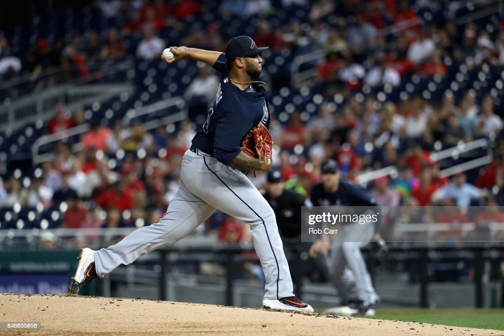 Starting pitcher Luiz Gohara #64 of the Atlanta Braves throws to a Washington Nationals batter in the second inning at Nationals Park on September 13, 2017 in Washington, DC.