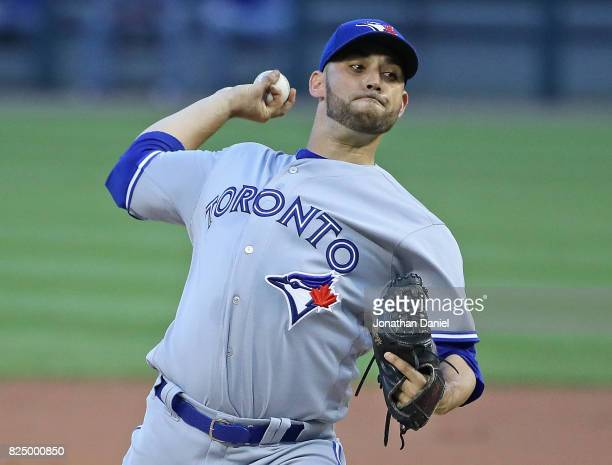 Starting pitcher Marco Estrada of the Toronto Blue Jays delivers the ball against the Chicago White Sox at Guaranteed Rate Field on July 31 2017 in...