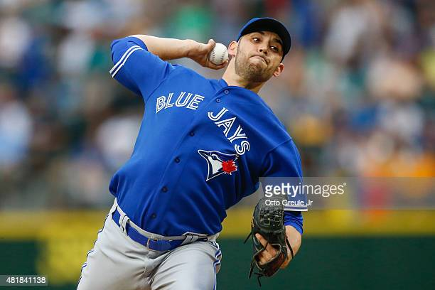 Starting pitcher Marco Estrada of the Toronto Blue Jays pitches against the Seattle Mariners in the second inning at Safeco Field on July 24 2015 in...