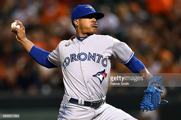 Starting pitcher Marcus Stroman of the Toronto Blue Jays works the first inning against the Baltimore Orioles at Oriole Park at Camden Yards on...