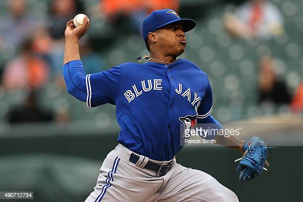 Starting pitcher Marcus Stroman of the Toronto Blue Jays works the first inning against the Baltimore Orioles during game one of a double header at...