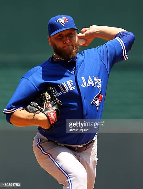 Starting pitcher Mark Buehrle of the Toronto Blue Jays warms up prior tothe game against the Kansas City Royals at Kauffman Stadium on July 11 2015...