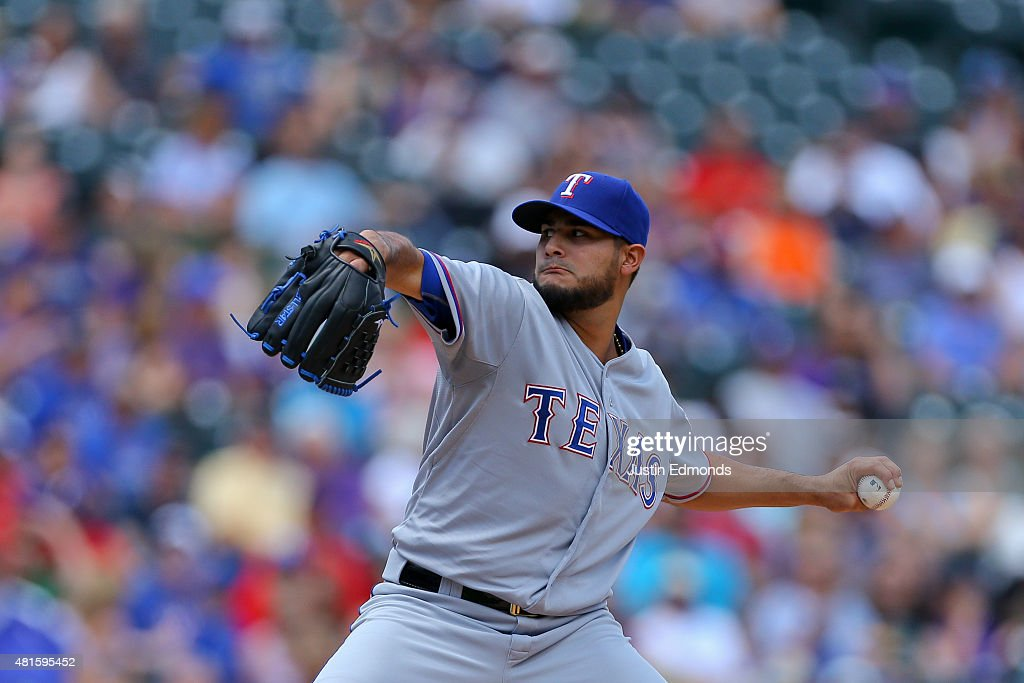 Starting pitcher Martin Perez #33 of the Texas Rangers delivers to home plate in the first inning against the Colorado Rockies during Interleague play at Coors Field on July 22, 2015 in Denver, Colorado.