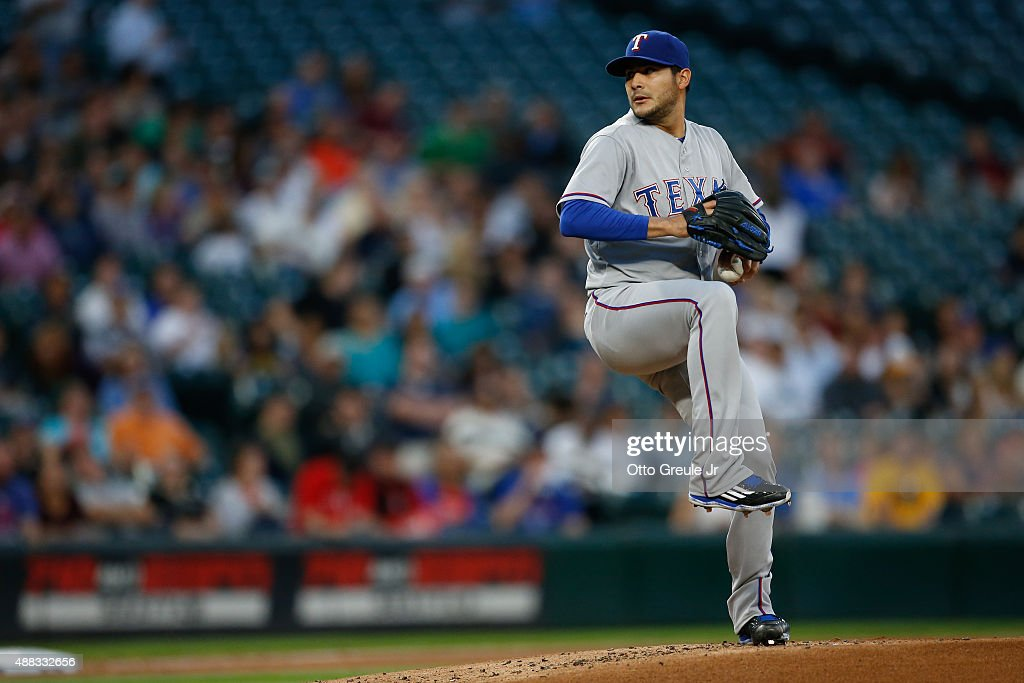 Starting pitcher Martin Perez #33 of the Texas Rangers pitches against the Seattle Mariners at Safeco Field on September 9, 2015 in Seattle, Washington.