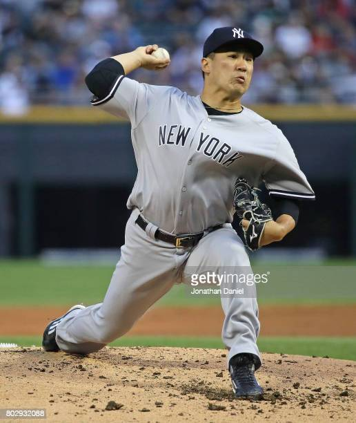 Starting pitcher Masahiro Tanaka of the New York Yankees delivers the ball against the Chicago White Sox at Guaranteed Rate Field on June 28 2017 in...