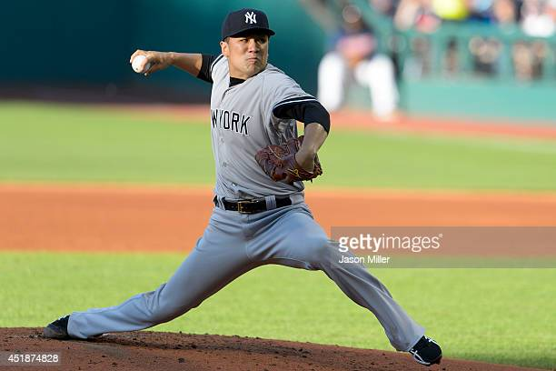 Starting pitcher Masahiro Tanaka of the New York Yankees pitches during the first inning against the Cleveland Indians at Progressive Field on July 8...