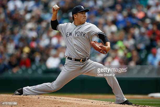 Starting pitcher Masahiro Tanaka of the New York Yankees pitches against the Seattle Mariners in the first inning at Safeco Field on June 3 2015 in...