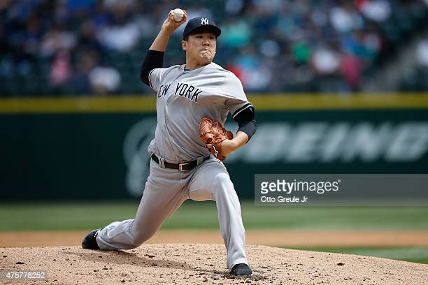 Starting pitcher Masahiro Tanaka of the New York Yankees pitches against the Seattle Mariners in the second inning at Safeco Field on June 3 2015 in...