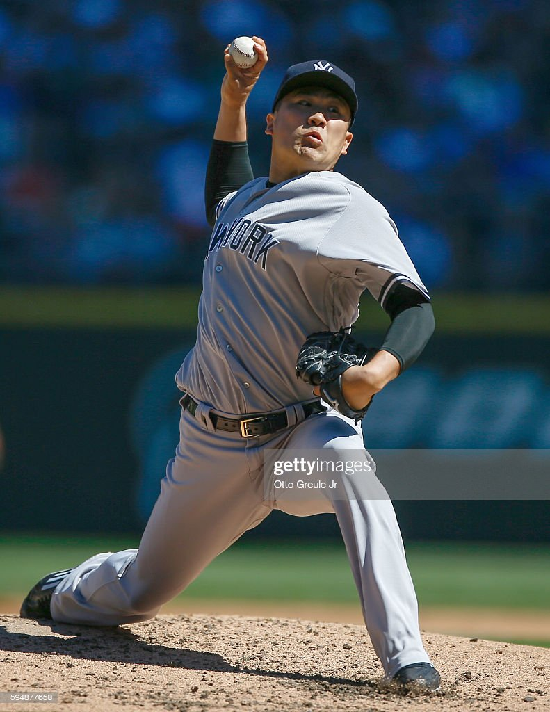 Starting pitcher Masahiro Tanaka of the New York Yankees pitches against the Seattle Mariners in the second inning at Safeco Field on August 24 2016...