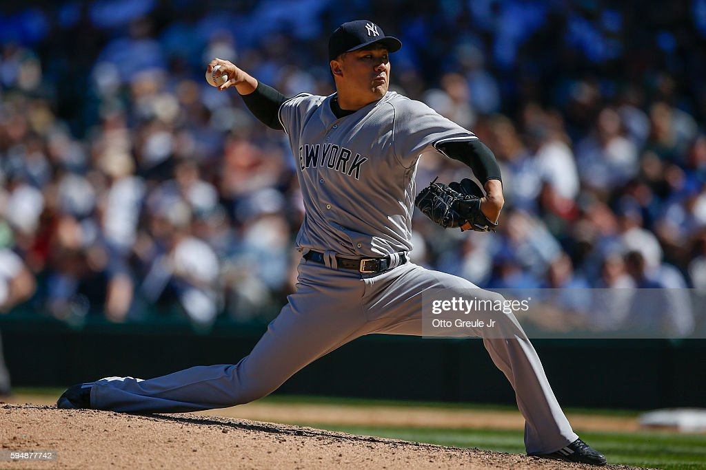 Starting pitcher Masahiro Tanaka of the New York Yankees pitches against the Seattle Mariners in the fifth inning at Safeco Field on August 24 2016...