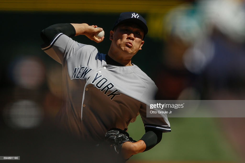 Starting pitcher Masahiro Tanaka of the New York Yankees pitches against the Seattle Mariners in the first inning at Safeco Field on August 24 2016...