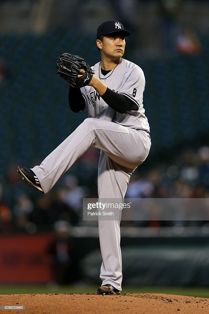 Starting pitcher Masahiro Tanaka #19 of the New York Yankees works the first inning against the Baltimore Orioles at Oriole Park at Camden Yards on May 5, 2016 in Baltimore, Maryland.