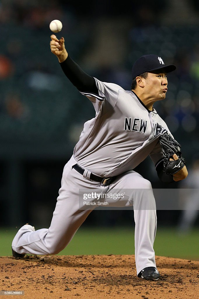 Starting pitcher Masahiro Tanaka #19 of the New York Yankees works the third inning against the Baltimore Orioles at Oriole Park at Camden Yards on May 5, 2016 in Baltimore, Maryland.