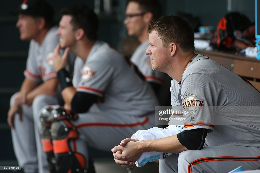Starting pitcher Matt Cain #18 of the San Francisco Giants sits on the dugout bench as he works against the Colorado Rockies at Coors Field on April 14, 2016 in Denver, Colorado.