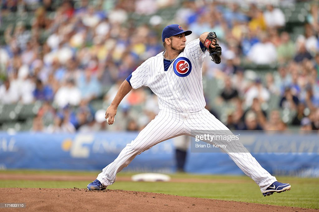 Starting pitcher <a gi-track='captionPersonalityLinkClicked' href=/galleries/search?phrase=Matt+Garza&family=editorial&specificpeople=835829 ng-click='$event.stopPropagation()'>Matt Garza</a> #22 of the Chicago Cubs delivers against the Houston Astros at Wrigley Field on June 21, 2013 in Chicago, Illinois. The Cubs defeated the Astros 3-1.