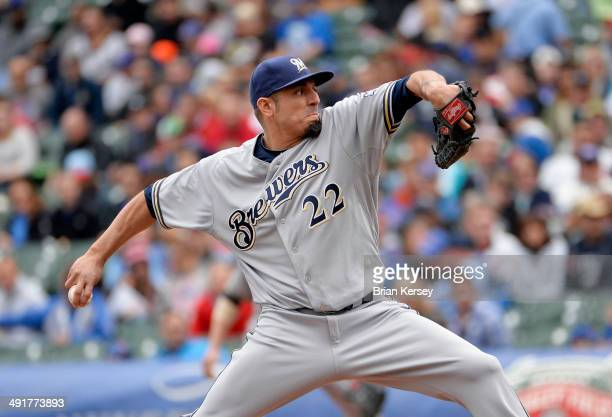 Starting pitcher Matt Garza of the Milwaukee Brewers delivers a pitch during the first inning against the Chicago Cubs at Wrigley Field in Chicago...