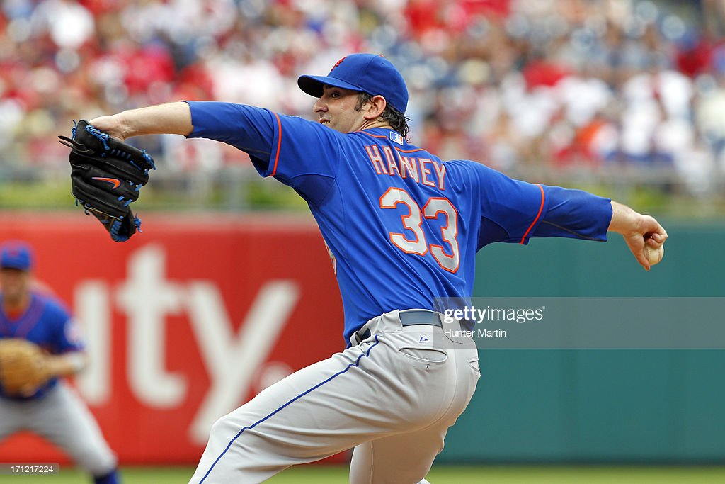 Starting pitcher Matt Harvey #33 of the New York Mets throws a pitch during a game against the Philadelphia Phillies at Citizens Bank Park on June 23, 2013 in Philadelphia, Pennsylvania.