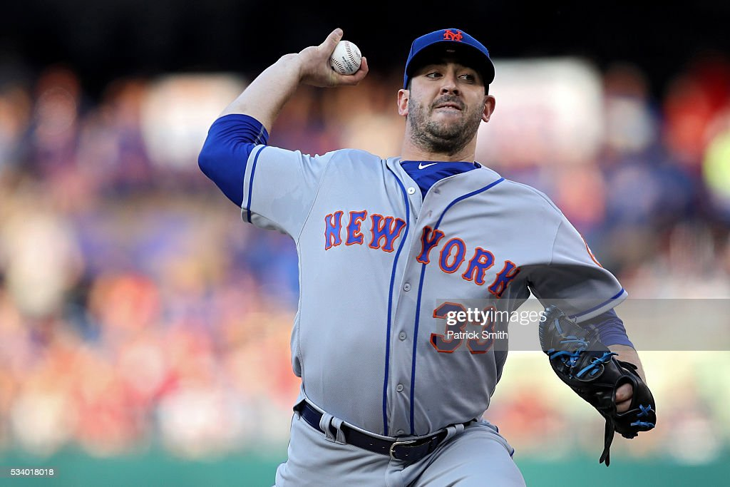 Starting pitcher Matt Harvey #33 of the New York Mets works the first inning against the Washington Nationals at Nationals Park on May 24, 2016 in Washington, DC.