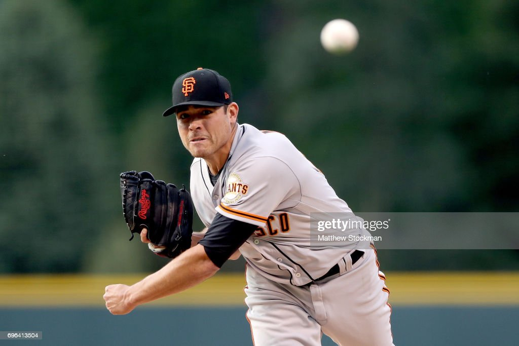 Starting pitcher Matt Moore #45 of the San Francisco Giants throws in the first inning against the Coloarado Rockies at Coors Field on June 15, 2017 in Denver, Colorado.