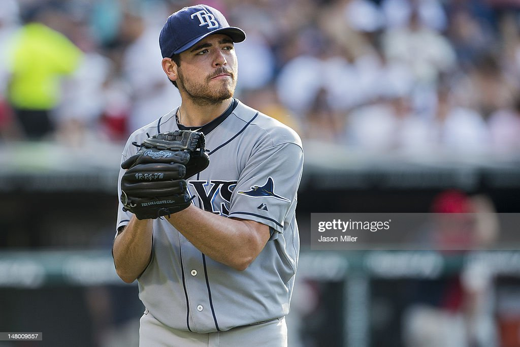 Starting pitcher <a gi-track='captionPersonalityLinkClicked' href=/galleries/search?phrase=Matt+Moore+-+Baseball+Player&family=editorial&specificpeople=15003307 ng-click='$event.stopPropagation()'>Matt Moore</a> #55 of the Tampa Bay Rays reacts after giving up three runs in the second inning against the Cleveland Indians at Progressive Field on July 7, 2012 in Cleveland, Ohio.