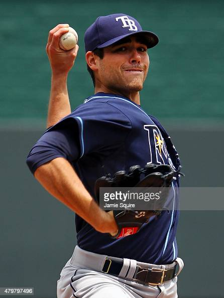 Starting pitcher Matt Moore of the Tampa Bay Rays warms up prior to game 1 of a doubleheader against the Kansas City Royals at Kauffman Stadium on...