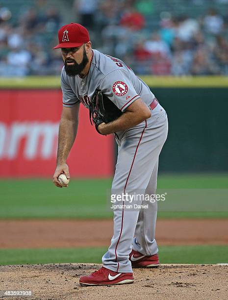 Starting pitcher Matt Shoemaker of the Los Angeles Angels looks for the signs before he pitches against the Chicago White Sox at US Cellular Field on...
