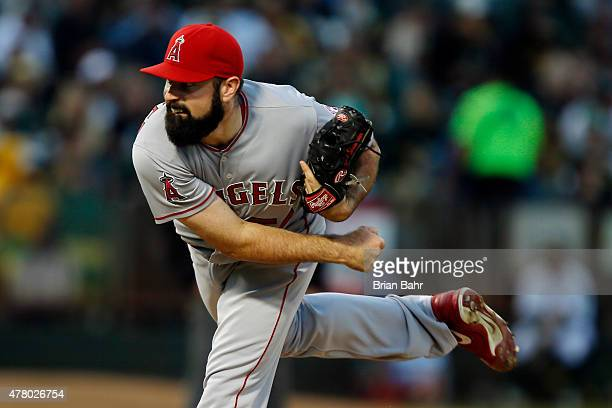 Starting pitcher Matt Shoemaker of the Los Angeles Angels of Anaheim follows through on a throw against of the Oakland Athletics at Oco Coliseum on...