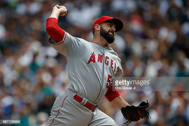 Starting pitcher Matt Shoemaker of the Los Angeles Angels of Anaheim pitches against the Seattle Mariners in the second inning at Safeco Field on...