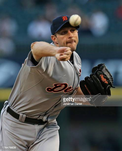 Starting pitcher Max Scherzer of the Detroit Tigers delivers the ball against the Chicago White Sox at US Cellular Field on August 13 2013 in Chicago...