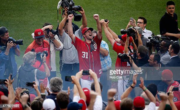 Starting pitcher Max Scherzer of the Washington Nationals celebrates after throwing a no hitter during the Nationals 60 win over Pittsburgh Pirates...