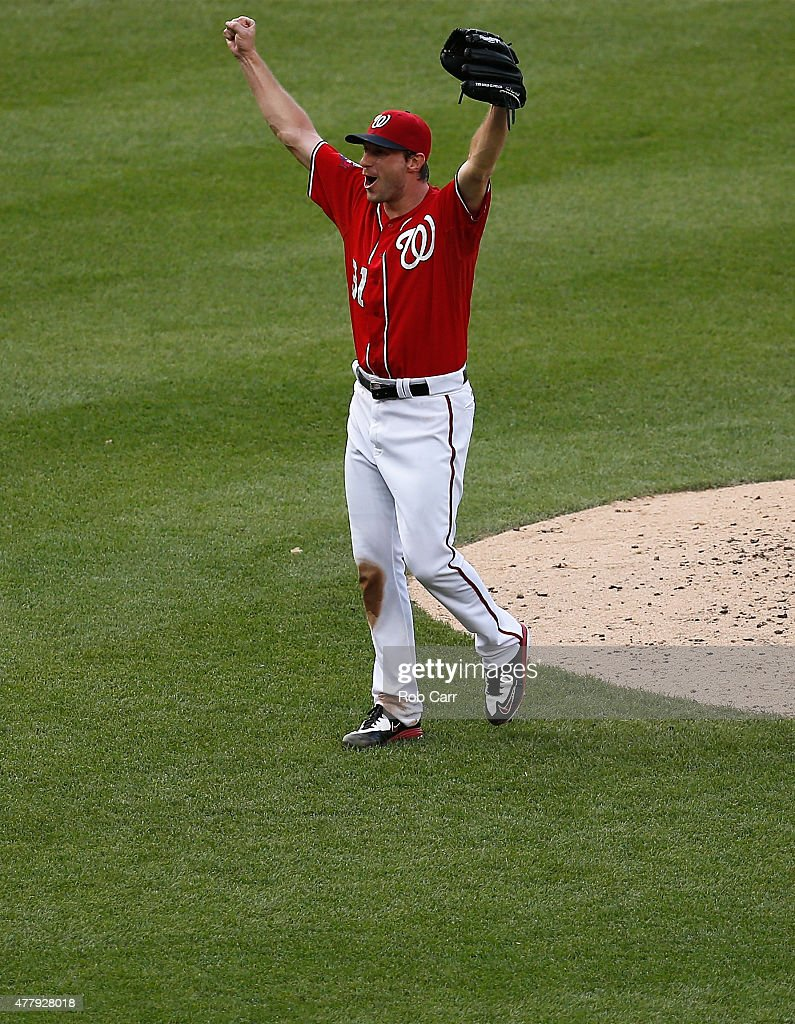 Starting pitcher Max Scherzer #31 of the Washington Nationals celebrates after getting the last out for a no hitter during the Nationals 6-0 win over Pittsburgh Pirates at Nationals Park on June 20, 2015 in Washington, DC.