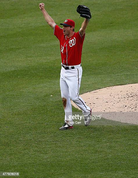 Starting pitcher Max Scherzer of the Washington Nationals celebrates after getting the last out for a no hitter during the Nationals 60 win over...