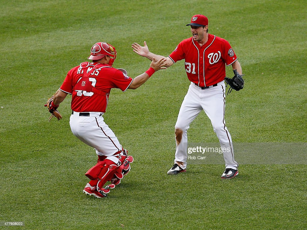 Starting pitcher Max Scherzer #31 of the Washington Nationals celebrates with catcher Wilson Ramos #40 after throwing a not hitter to defeat the Pittsburgh Pirates 6-0 at Nationals Park on June 20, 2015 in Washington, DC.