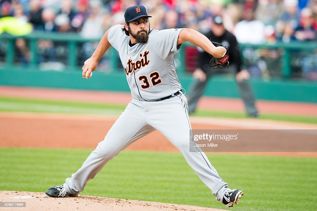 Starting pitcher Michael Fulmer #32 of the Detroit Tigers pitches during the first inning against the Cleveland Indians at Progressive Field on May 5, 2016 in Cleveland, Ohio.