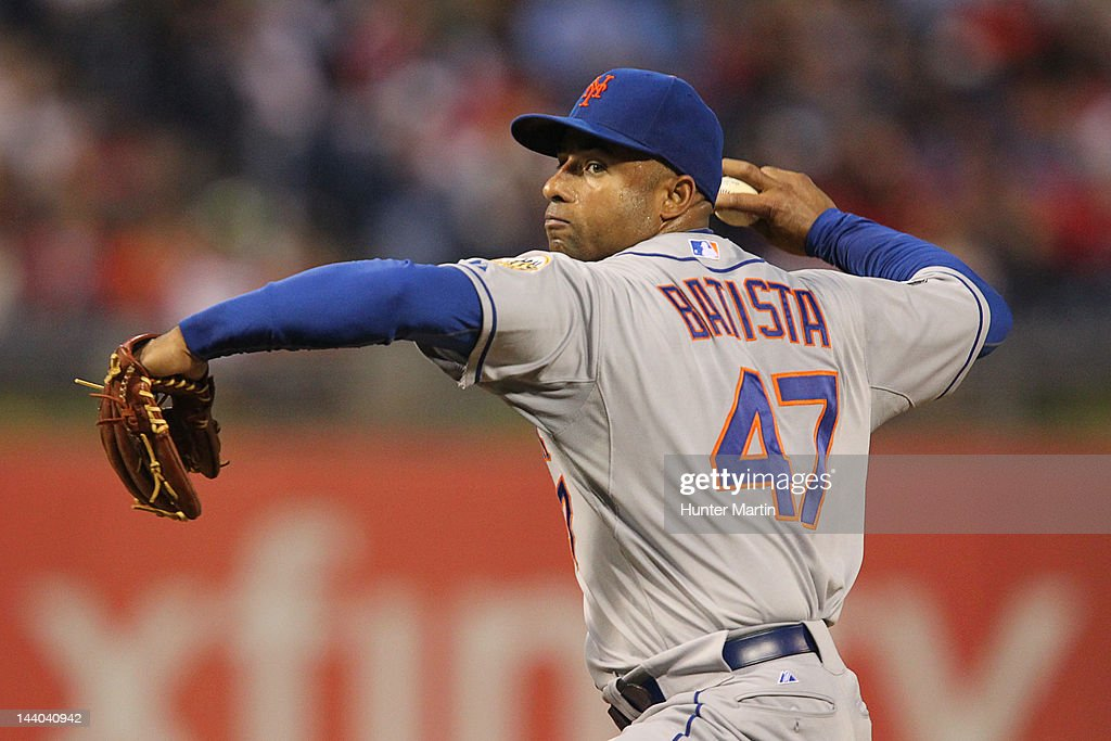 Starting pitcher <a gi-track='captionPersonalityLinkClicked' href=/galleries/search?phrase=Miguel+Batista&family=editorial&specificpeople=215198 ng-click='$event.stopPropagation()'>Miguel Batista</a> #47 of the New York Mets throws a pitch during a game against the Philadelphia Phillies at Citizens Bank Park on May 8, 2012 in Philadelphia, Pennsylvania.