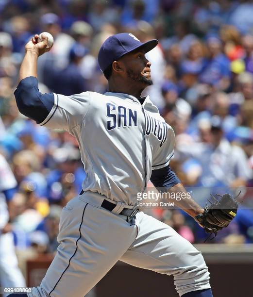 Starting pitcher Miguel Diaz of the San Diego Padres delivers the ball against the Chicago Cubs at Wrigley Field on June 21 2017 in Chicago Illinois