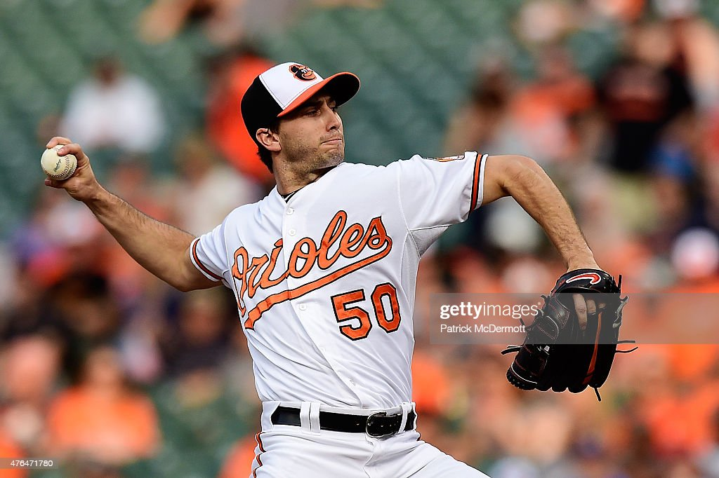 Starting pitcher Miguel Gonzalez #50 of the Baltimore Orioles throws a pitch to a Boston Red Sox batter in the first inning during a baseball game at Oriole Park at Camden Yards on June 9, 2015 in Baltimore, Maryland.