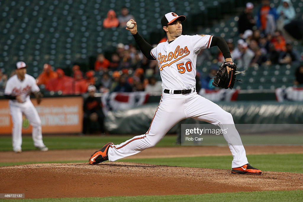 Starting pitcher Miguel Gonzalez #50 of the Baltimore Orioles throws to a New York Yankees batter in the first inning at Oriole Park at Camden Yards on April 14, 2015 in Baltimore, Maryland.