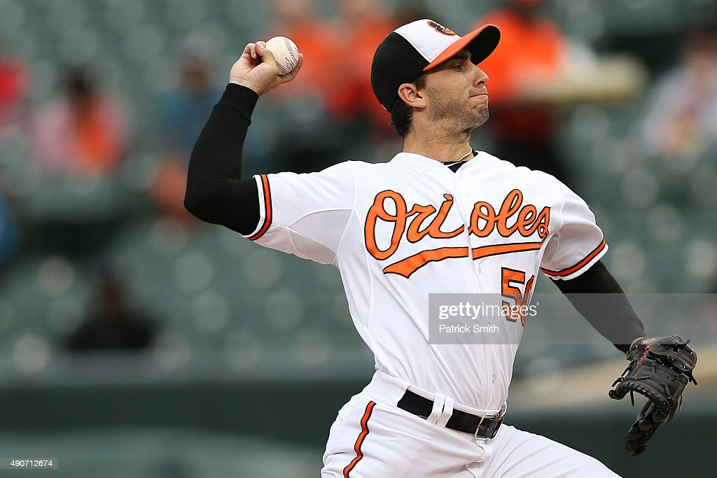 Starting pitcher Miguel Gonzalez #50 of the Baltimore Orioles works the first inning against the Toronto Blue Jays during game one of a double header at Oriole Park at Camden Yards on September 30, 2015 in Baltimore, Maryland.