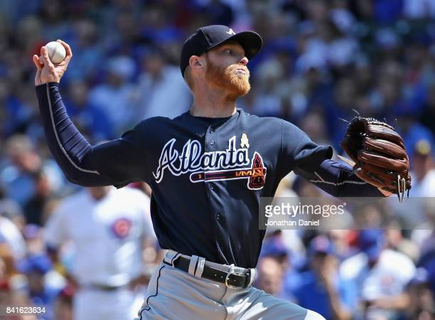 Starting pitcher Mike Foltynewicz of the Atlanta Braves delivers the ball against the Chicago Cubs at Wrigley Field on September 1 2017 in Chicago...