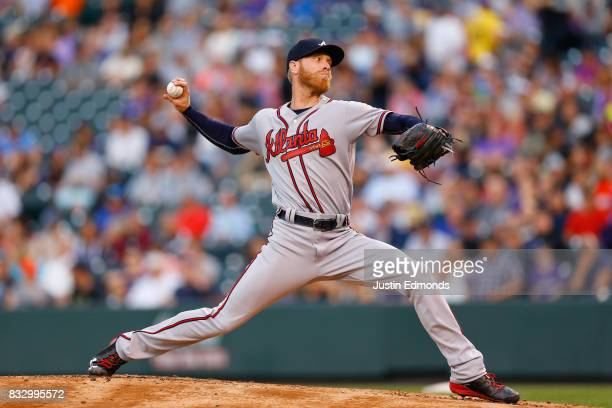 Starting pitcher Mike Foltynewicz of the Atlanta Braves delivers to home plate during the first inning during the game against the Colorado Rockies...