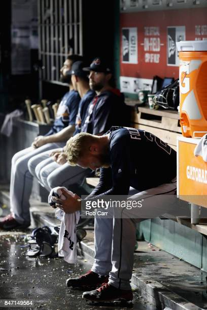 Starting pitcher Mike Foltynewicz of the Atlanta Braves sits in the dugout after pitching in the fifth inning against the Washington Nationals at...